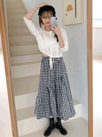Unval Cree Check Long Skirt