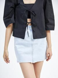 cozy denim mini skirt - woman
