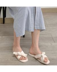 Ribbon knot slippers shoes - 4color