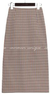 CUSE COLOR MIX CHECK SLIT SKIRT