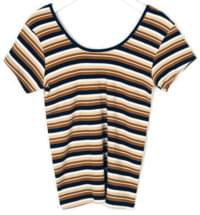 a rainbow stripes T