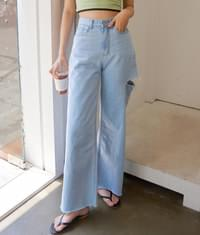 110 side cut wide denim pants