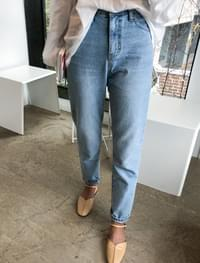 light blue straight denim pants