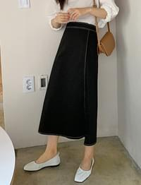 Hold stitch long skirt_Y (size : free)