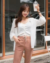 Puff Shirring cardigan set