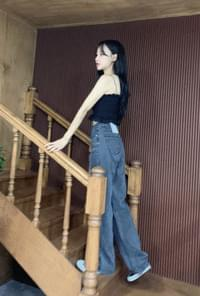 Denim wide long pants