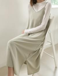 sleeveless slit long soft ops