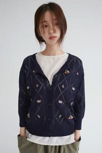 flower diamond knit cardigan (navy)