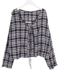 Sheer check cardigan set