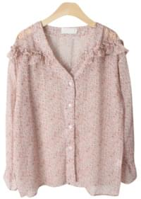 Zan flower frilly blouse