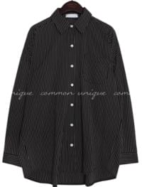 SNOHO STRIPE BOXY FIT COTTON SHIRTS