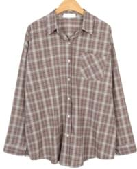 cozy check loose shirts (black)