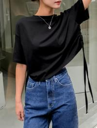 side shirring crop tee