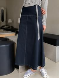 A-line stitch long skirt