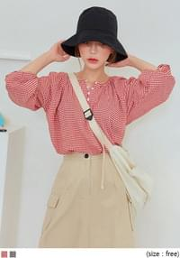 ALISO GINGHAM CHECK BUTTON BLOUSE