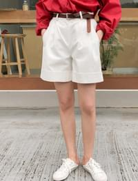 roll-up cotton banding shorts