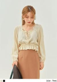 GEMMA WRAP BUTTON CROP BLOUSE