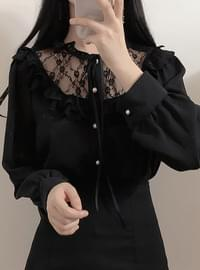 New Arrival ♥ Full Moon Lace Ribbon Blouse