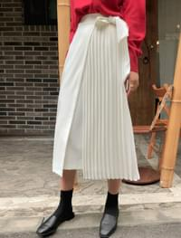 front pleats wrap long skirt