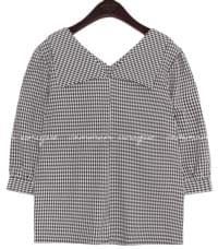 LAYTON 2 WAY CHECK COLLAR BLOUSE