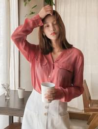 open collar neck blouse