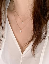 Cubic layered necklace_C (size : one)