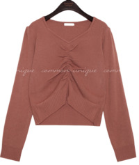 SIDNEY SHIRRING PUFF CROP KNIT