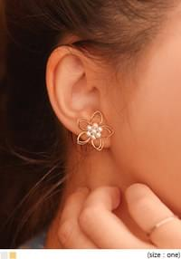 WIRE FLOWER PEARL EARRING