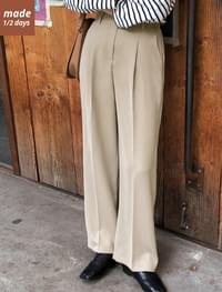 1/2 days pants # 132 high waist pin tuck wide slacks