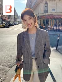 Tarte wool check jacket (size : free)