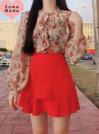 Self-made ♥ forget-me-not flower chiffon blouse