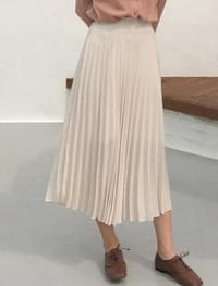 Accordion Banding Pleats Long Skirt