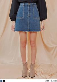 BASE OUT POCKET DENIM MINI SKIRT
