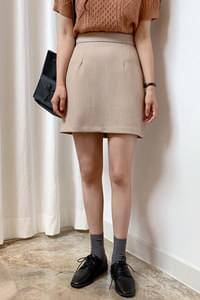 From Simple Mini Skirt-Beige S