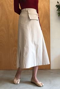 Pocket A-line long skirt