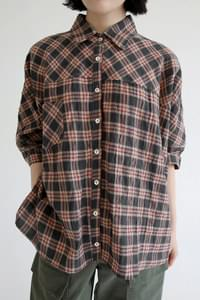 vintage check loose shirts