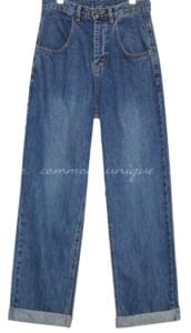 HORN WIDE ROLL UP DENIM PANTS