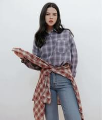 Loose Fit Patch Pocket Check Shirt