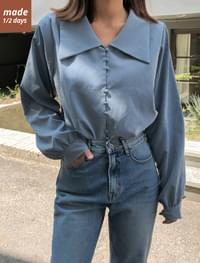 Wrap Button Puff Blouse