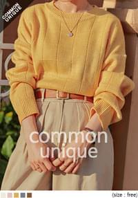 SLOW SQUARE PATTERN LOOSE FIT KNIT