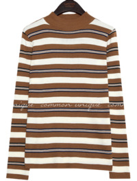 BRIZ COLOR STRIPE HALF NECK KNIT