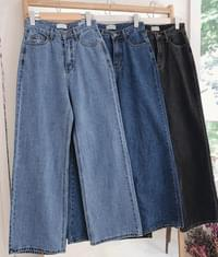 Contrast-Stitched Wide-Leg Jeans