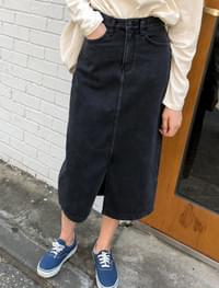 easy denim long skirt
