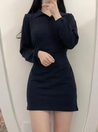 Body correction collar mini dress