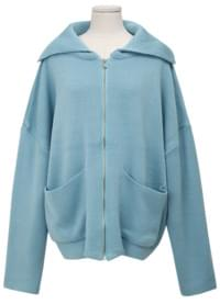 Over collar zip-up cardigan