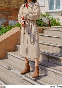 WALNUT DOUBLE TRENCH COAT