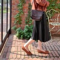 Here leather pleated skirt