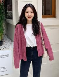 Berry Cable Knit Cardigan