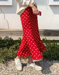 Mini Dot Mermaid Long Skirt