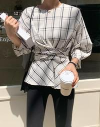 As check balloon blouse